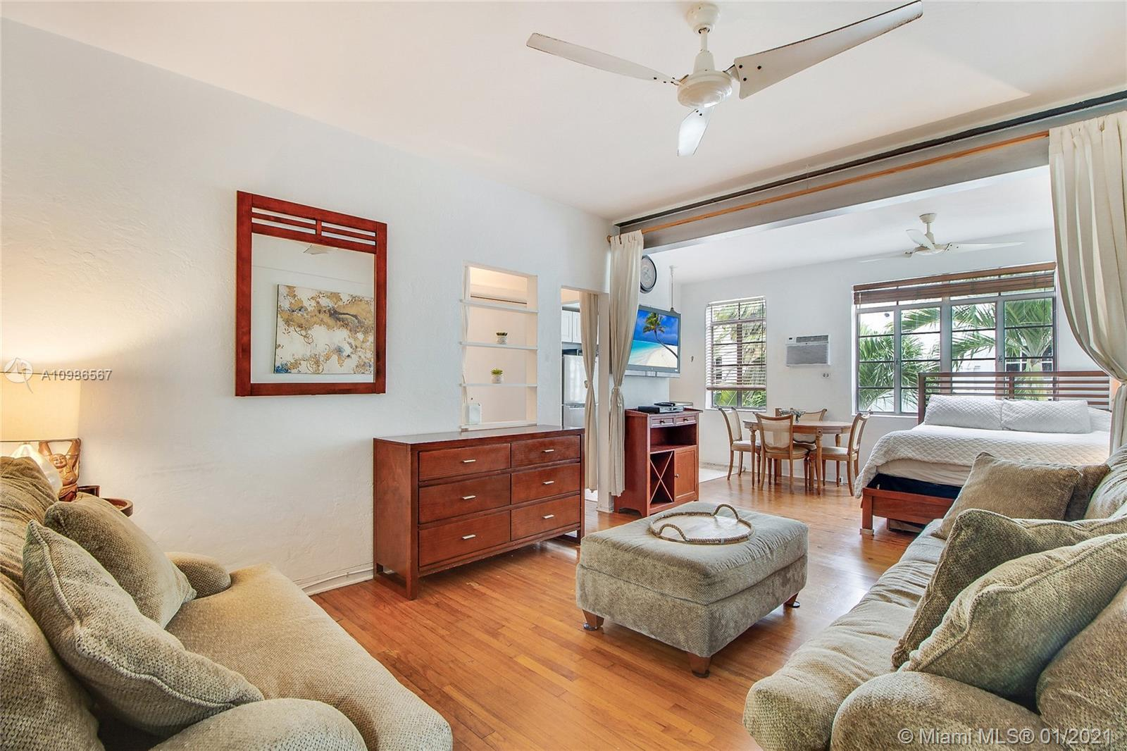 Rarely available studio one block from beach in the heart of sought after South of Fifth neighborhoo