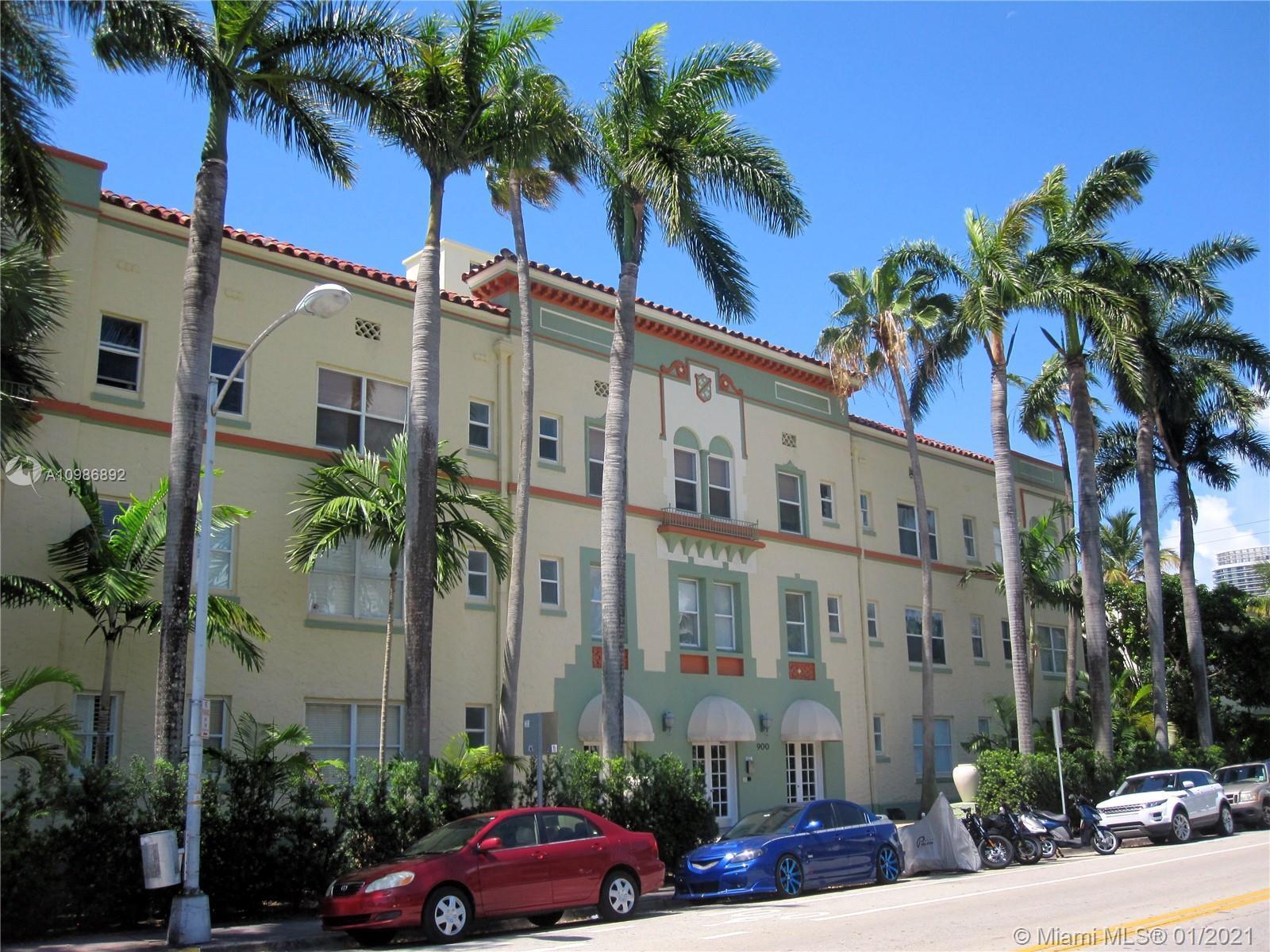 "Beautiful historic Art Deco building "" The Esplanade"". This charming 600 sf 1 bed/1 bath corner unit"