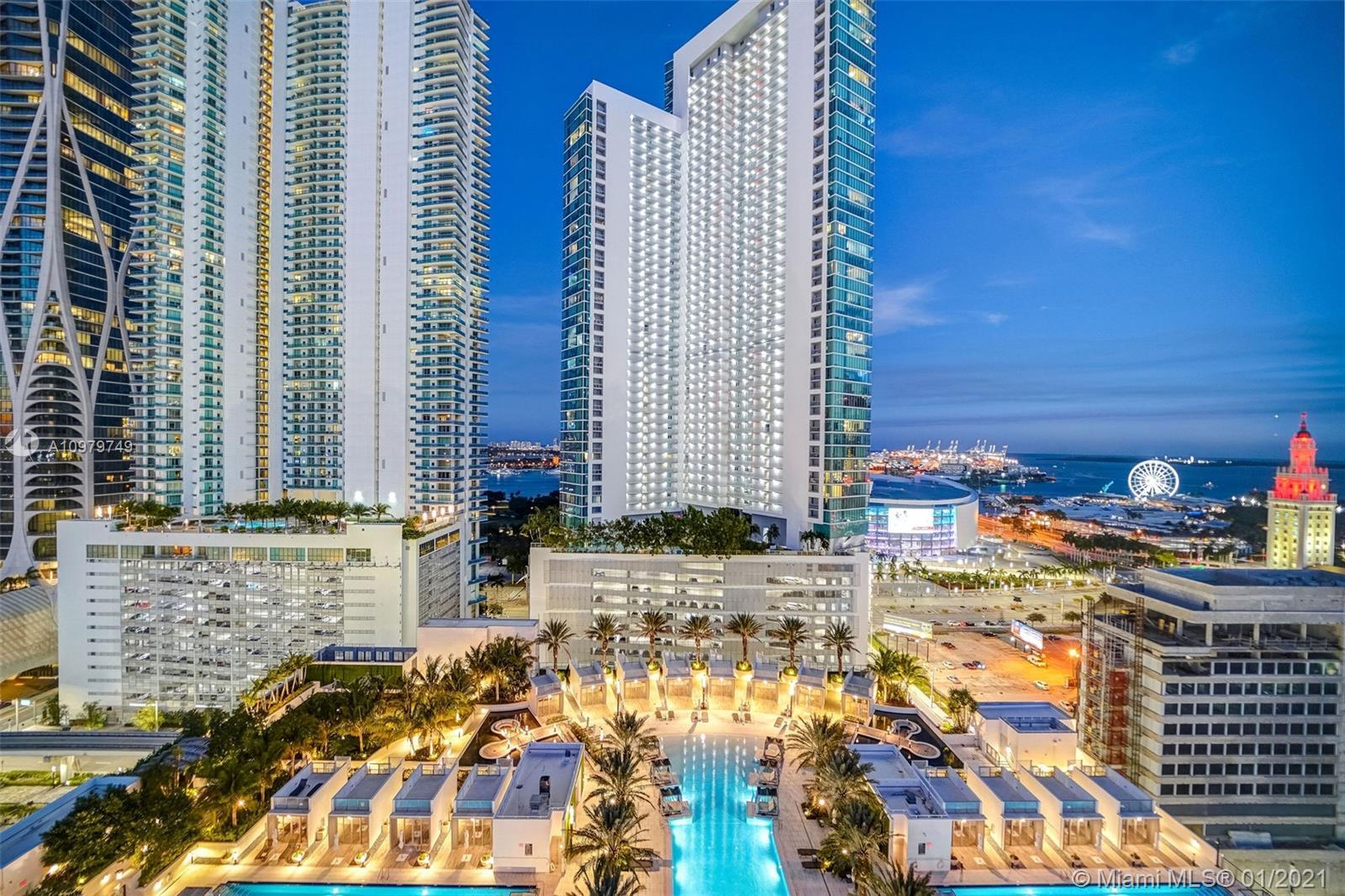 Highly sought after (05) line at the new Paramount Miami World Center with Bay and City Views. This