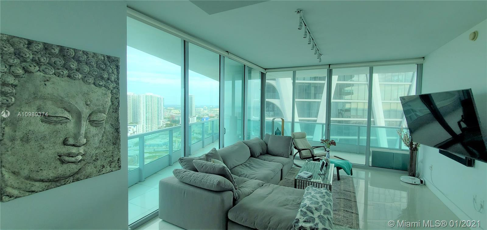 Just listed and price to sell immediately! Fully furnished large 2/2.5 corner unit. Panoramic bat an