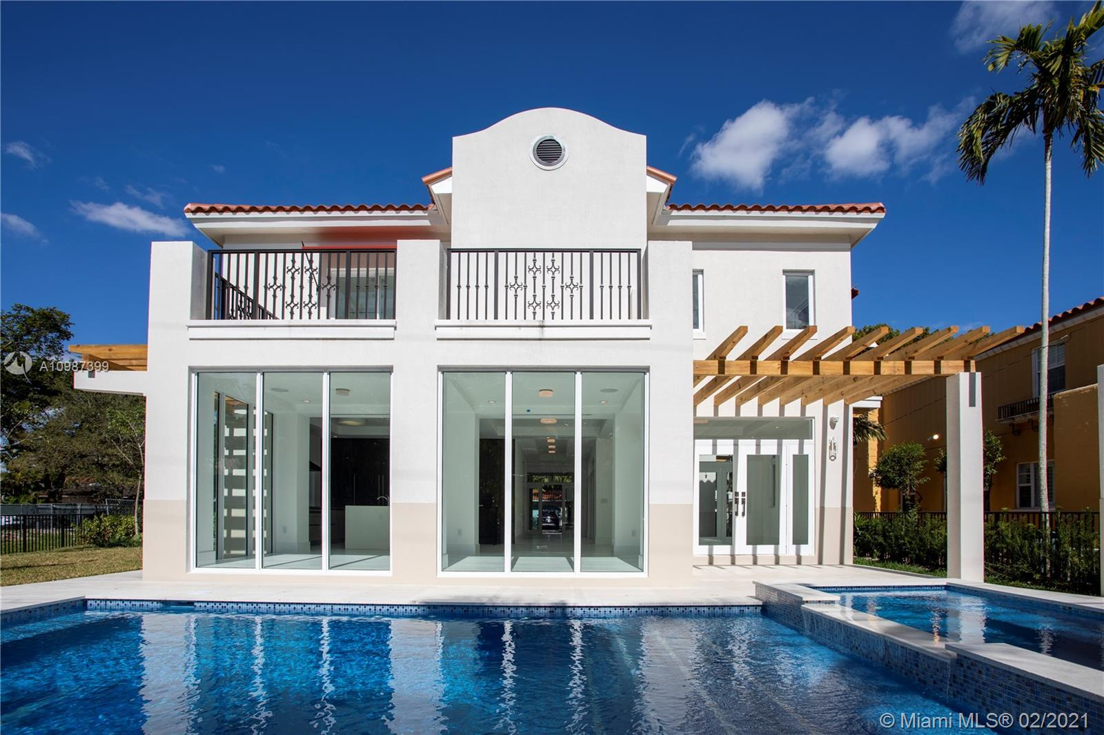 Turn-key, two-story, new construction home walking distance to the heart of downtown Coral Gables. N