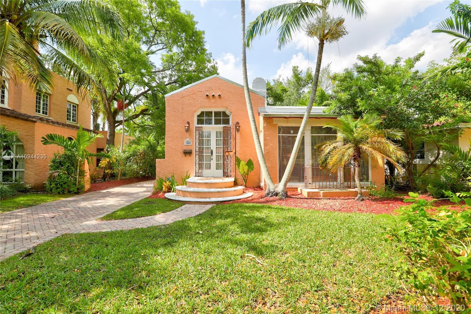 Charming Old Spanish home for sale on a beautiful and quiet street in North Gables! 2 bedrooms/1 bat