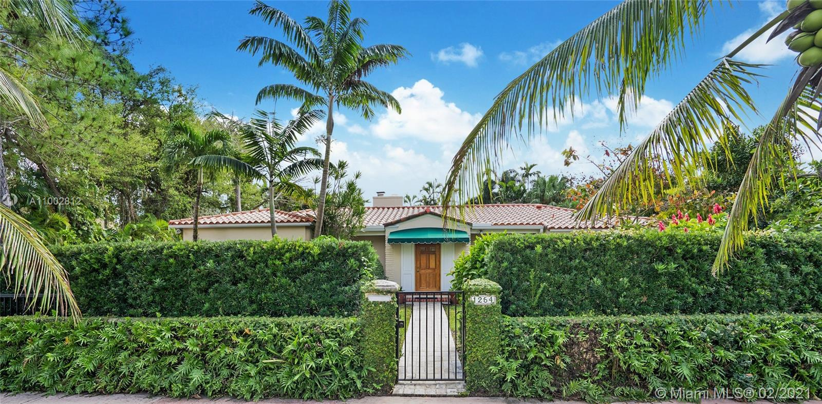 Located in a Prime Coral Gables location, behind a privacy wall, this 4 bd, 3 bath residence w/ cott
