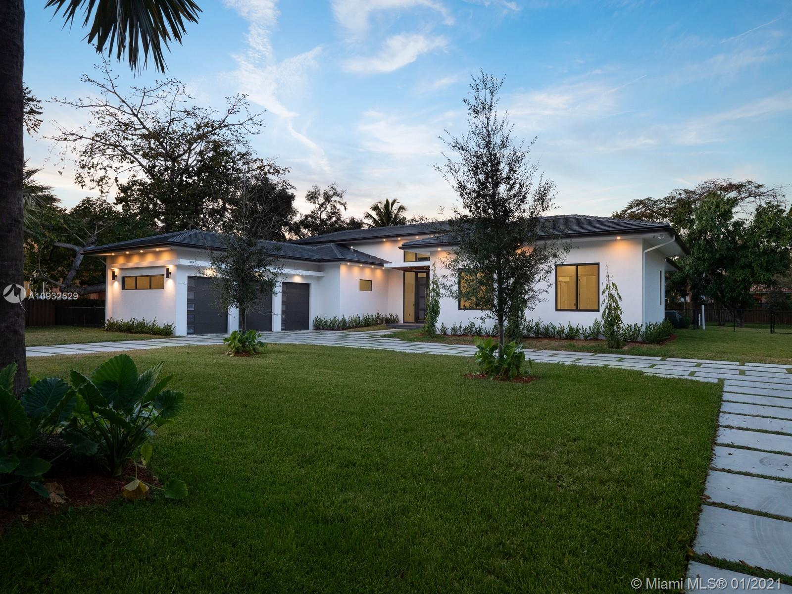 Impressive Brand-New Construction ready for occupancy in Pinecrest. This spectacular 1-story modern