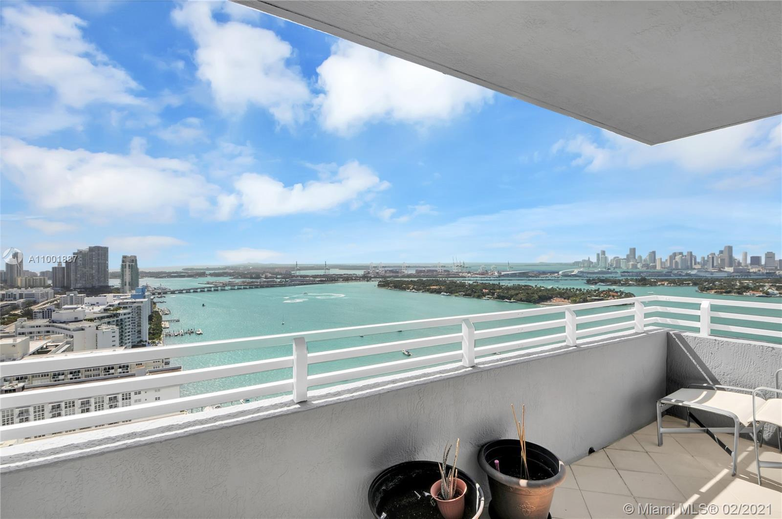 Spectacular views from this 2/2 at Waverly South Beach.  Direct views of downtown, Fisher Island, So