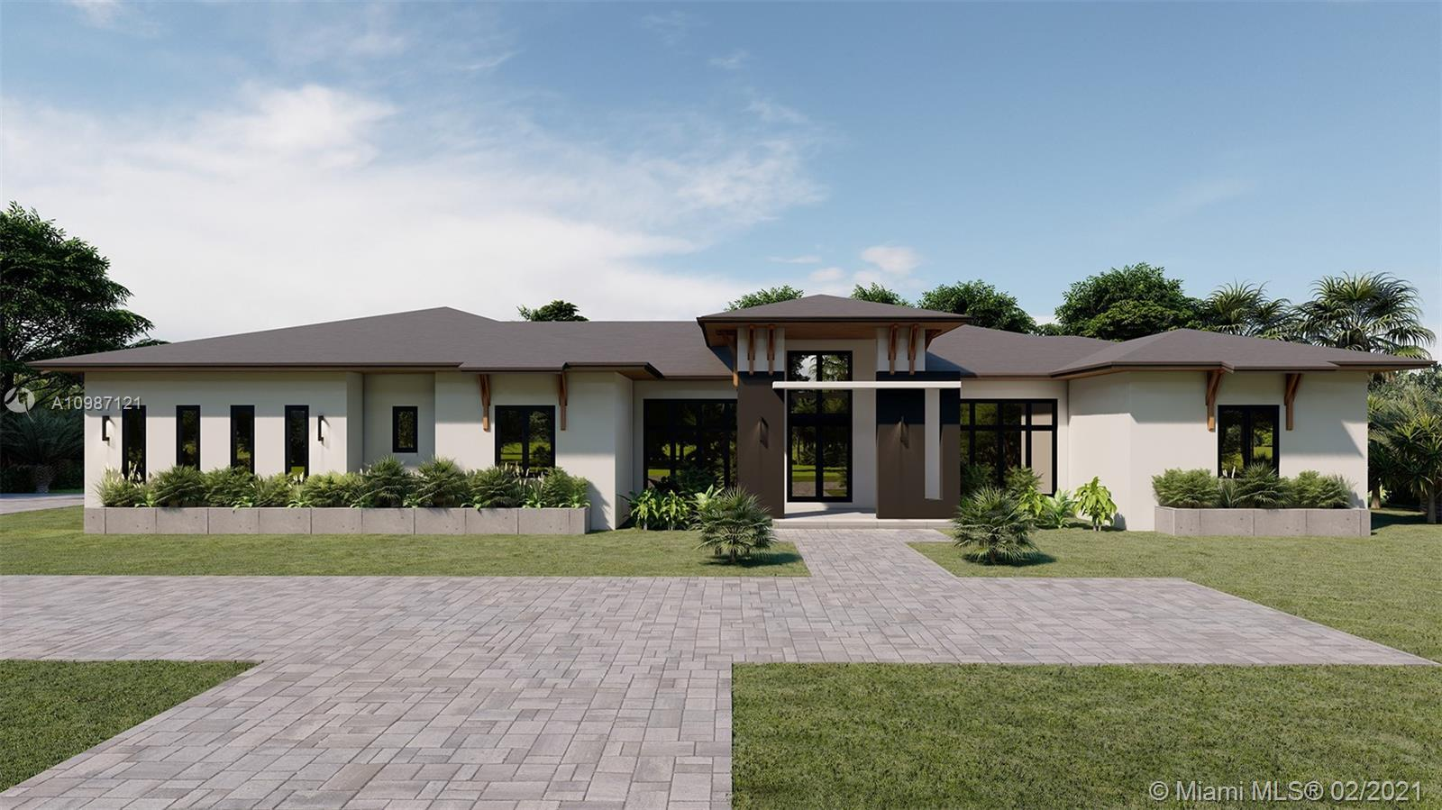 Brand-New One-story Modern Estate built with the finest finishes. Welcomed by enormous windows & doo