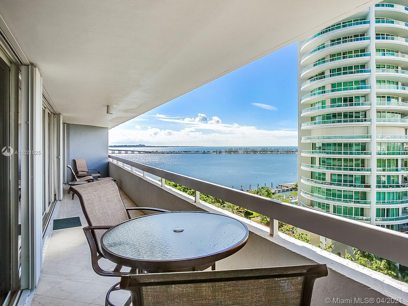 Delight in the amazing views of Biscayne Bay, from the over-sized balcony of this spacious 2 bedroom