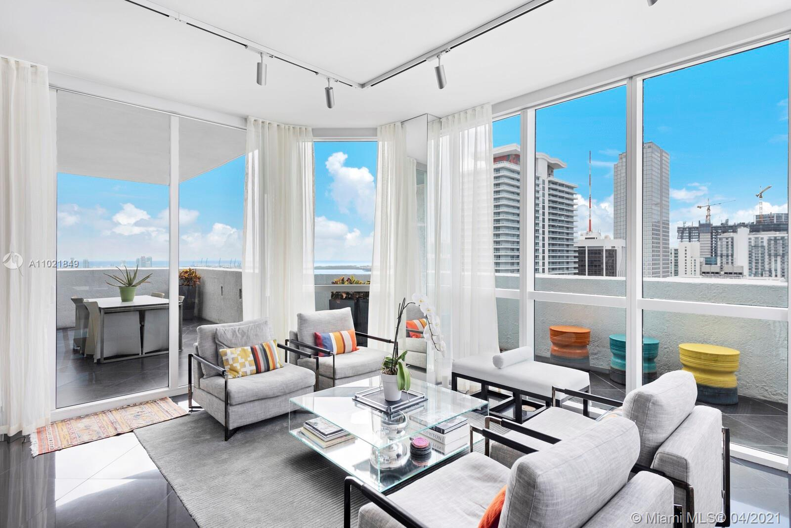 Designer-decorated turnkey lower penthouse with 10-foot ceilings boasts 3 br/3 ba and wraparound ter