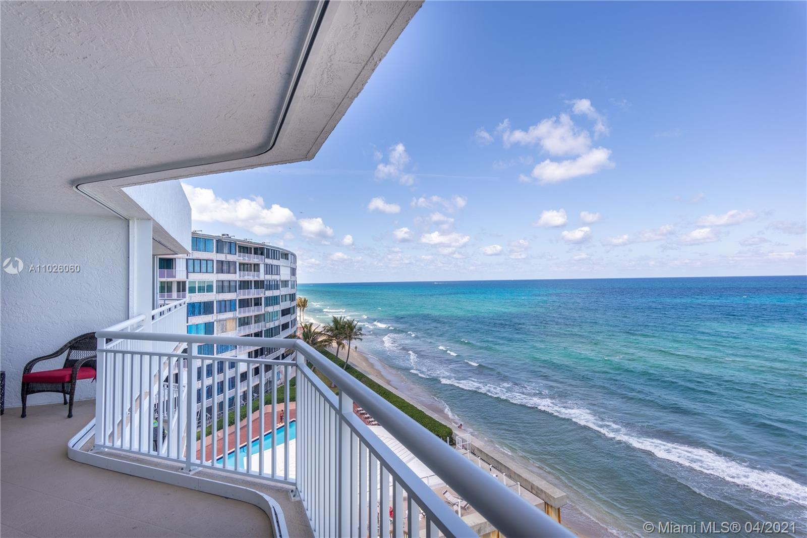Amazing panoramic ocean views. 2 balconies providing east and west unobstructed views. Private eleva