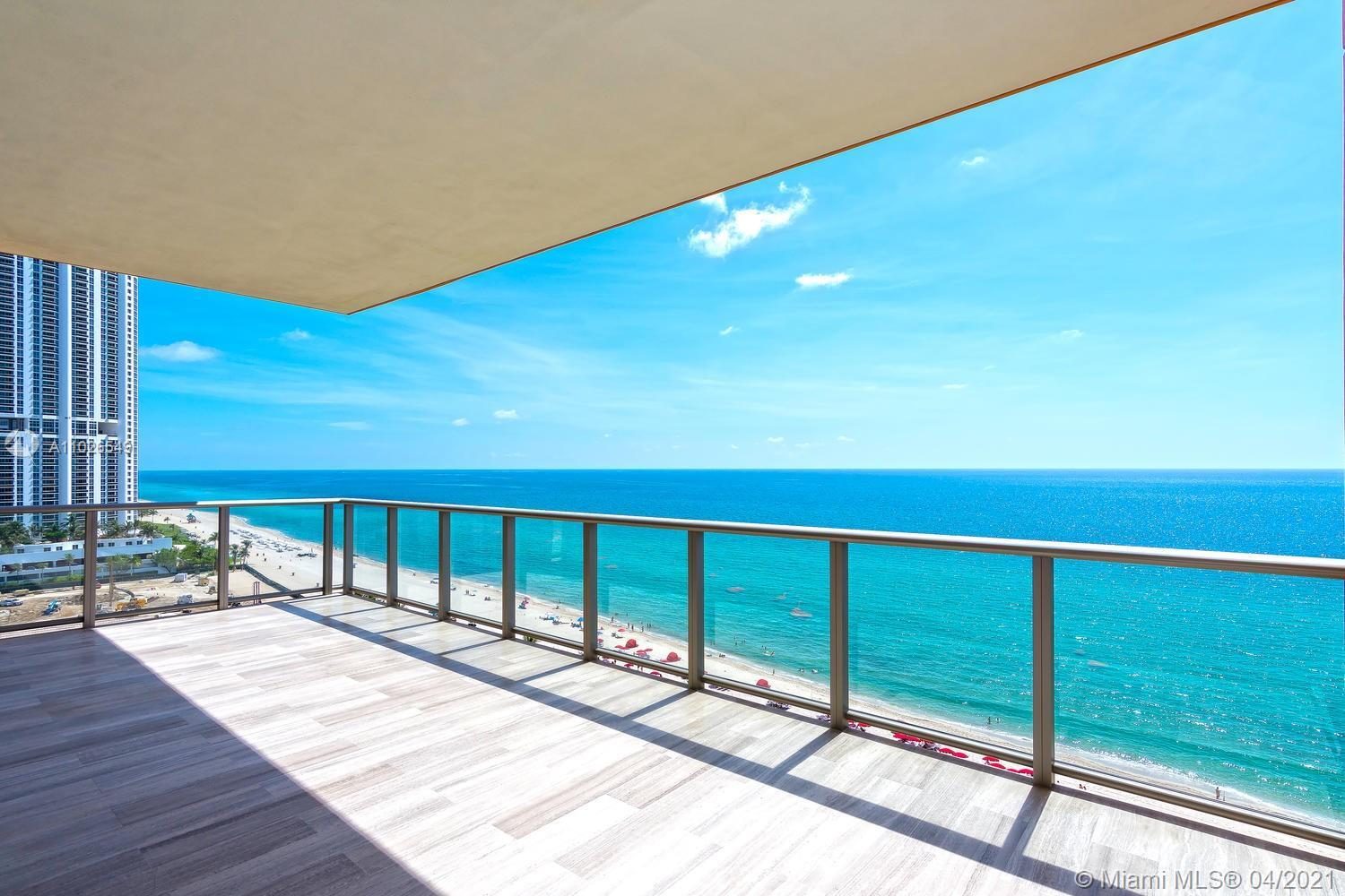 Spectacular corner unit facing ocean and city skyline. This residence features over 4,600 sf flow th