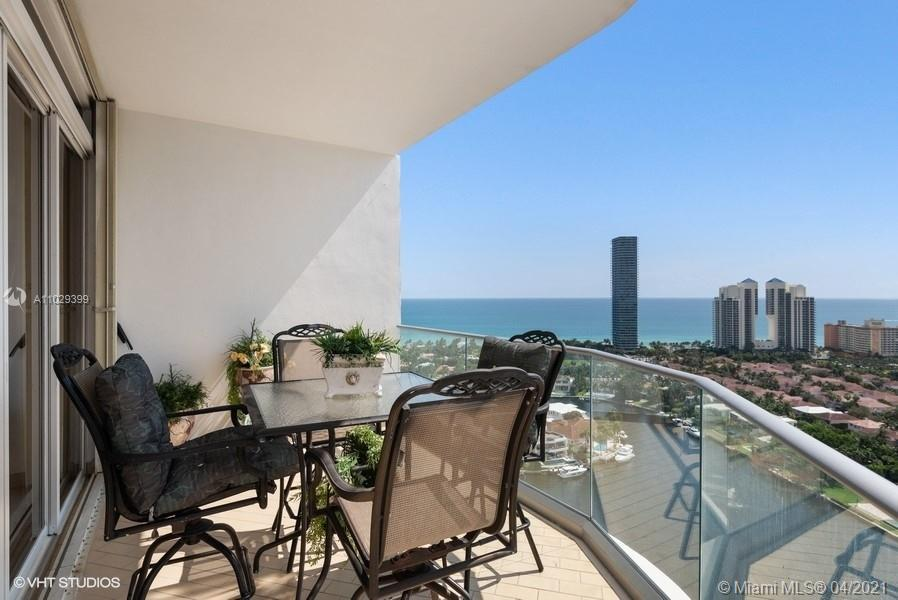 Spectacular views of ocean, intracoastal and city from this elegant and spacious Pent House Unit in