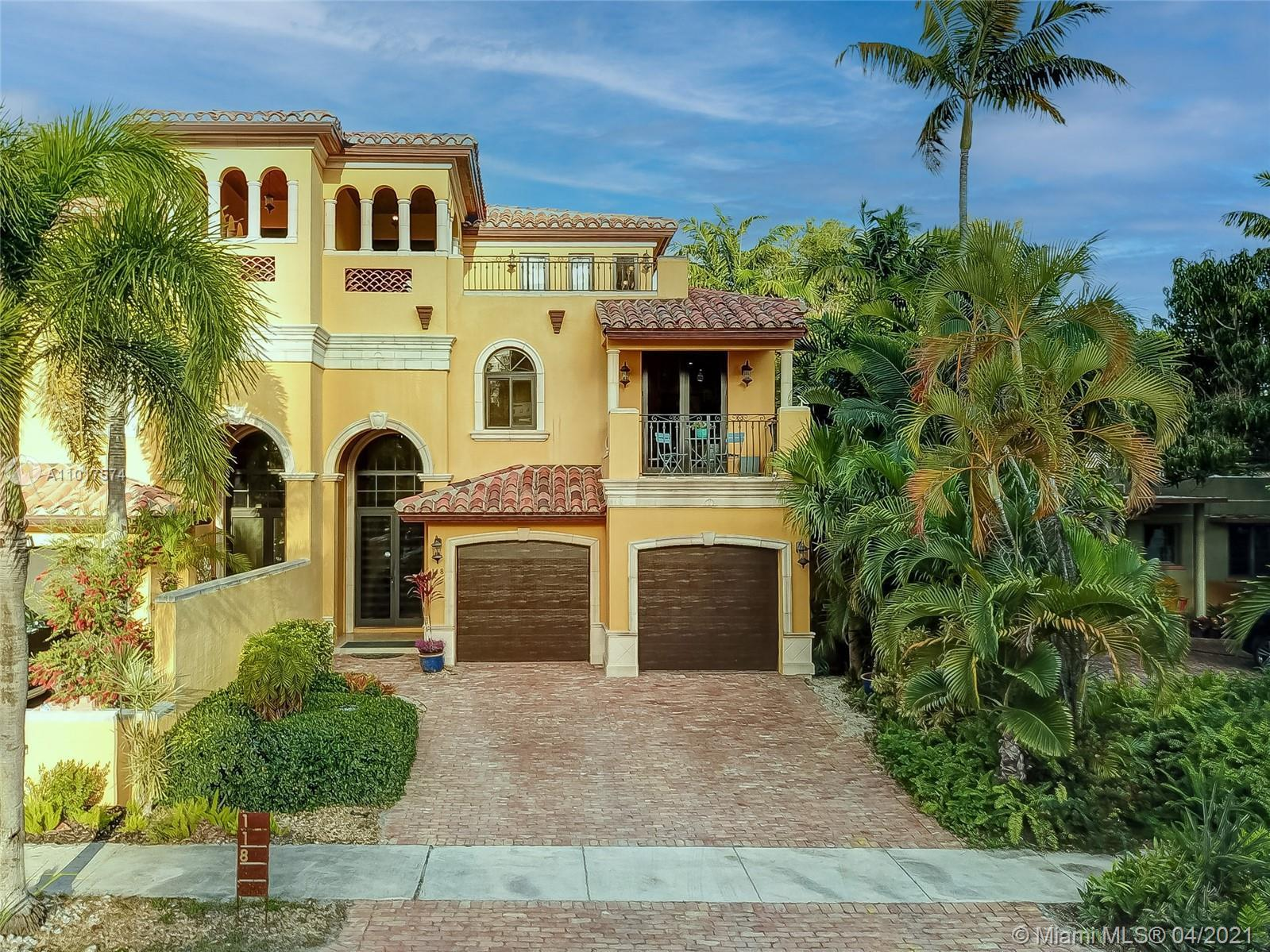 Just steps from Las Olas Blvd nestled on a quiet dead end street sits this bright and sizable 3 stor