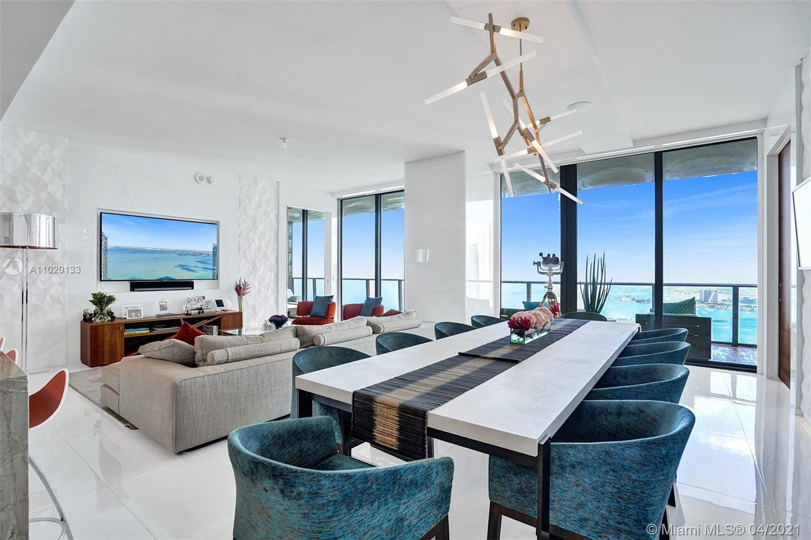 Stunning 52nd floor Penthouse. Incredible views of Bay, Ocean, Downtown skyline, Miami Beach & more.