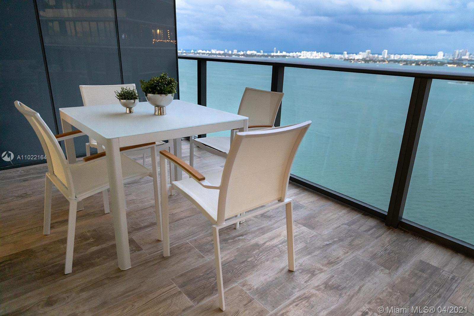 Breathtaking views of Biscayne Bay from the 32th floor at this new 2 beds 3 baths fully furnished un