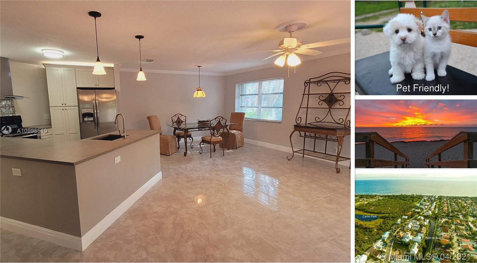 New tile was just installed downstairs on 4/10.    Rare Pet Friendly Community and beach.  2 Bedroom