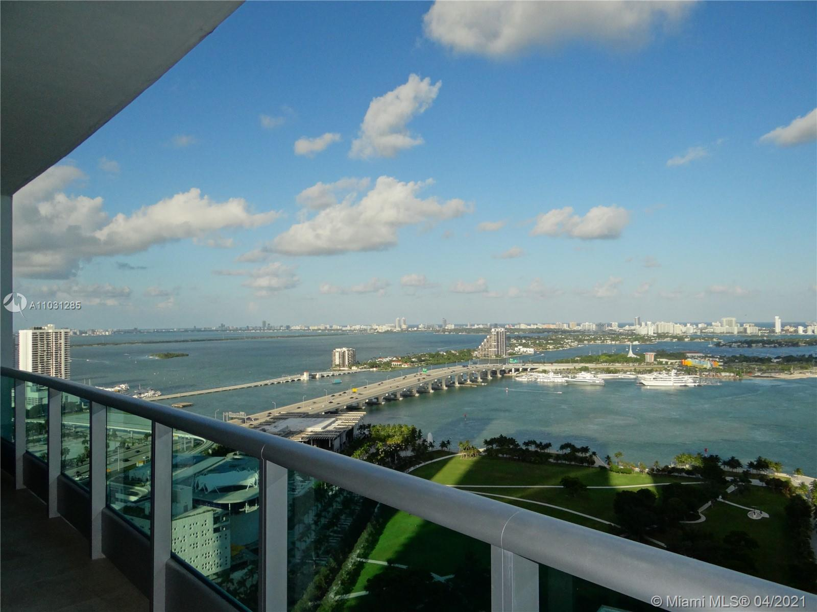 Enjoy spectacular, unobstructed direct views of Biscayne Bay from this bright 1bed /1.5 baths furnis