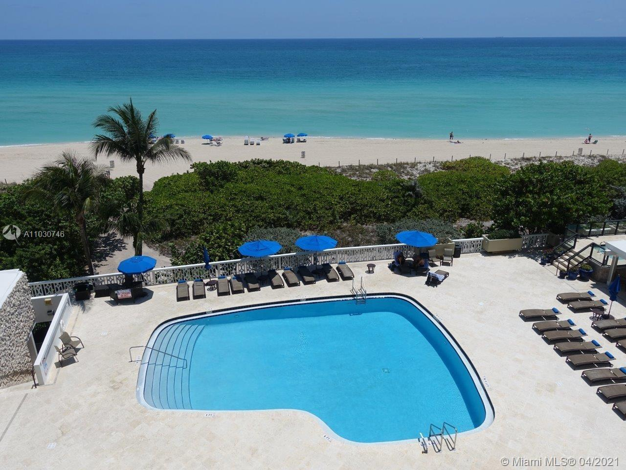 Oceanfront Building on Millionaire Row in Miami Beach with direct beach front access. Spacious 2 bed