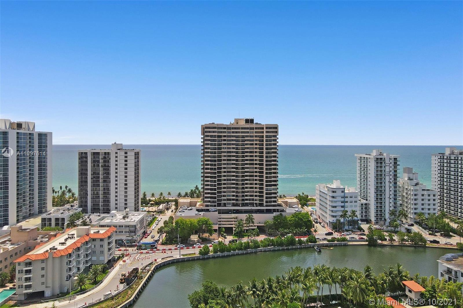 Collins Ave and 25th Street, at the Ocean, with panoramic views of the Miami Skyline, Biscayne Bay,