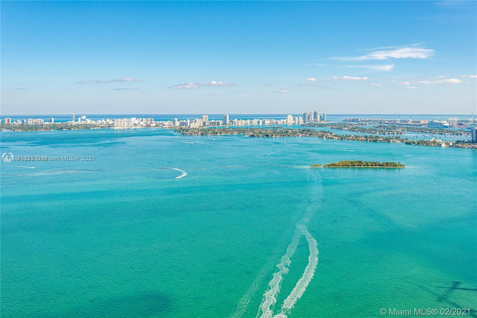 Breathtaking Bay and City Views from the 49th floor of this 2 bed /3 bath plus DEN. Private entry el