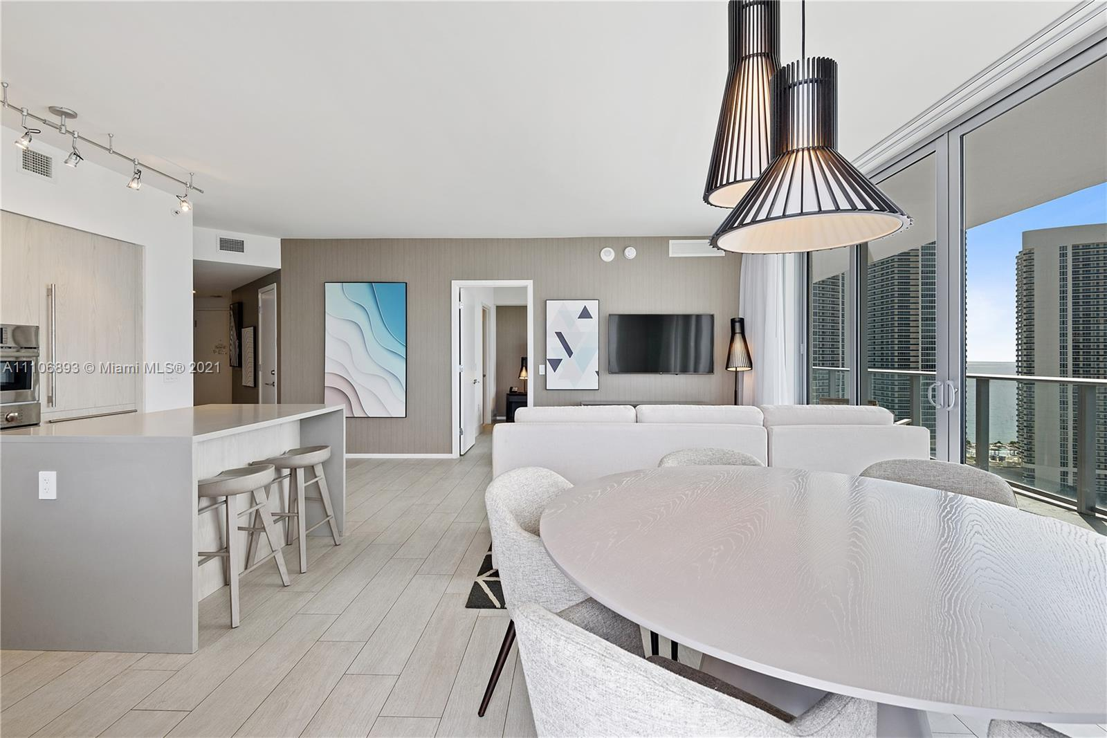 Perfect 3-bed, 2.5-bath corner condo at new luxury high-rise. Unit is fully furnished with double ex
