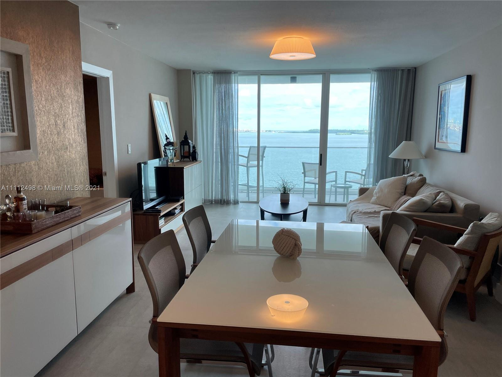 Open bay view from every room. This gorgeous RE-MODELED Brickell Key 2 bedroom, 2 bathroom residence