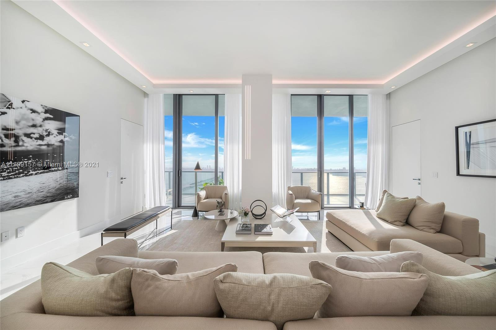 Luxury has been re-imagined in this direct bay front sky Penthouse with 12' Ceilings with 3058 SqFt
