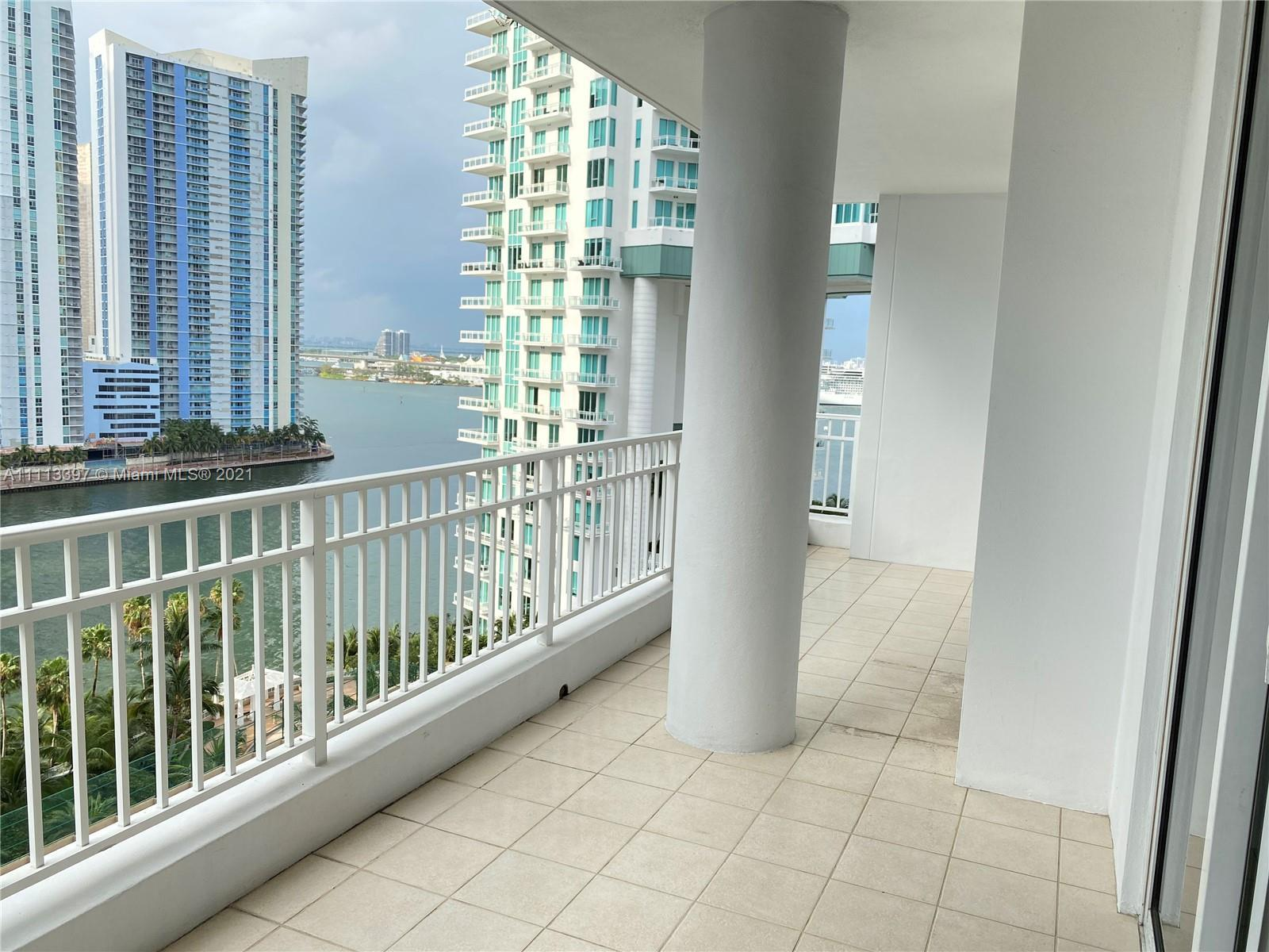 Beautiful 2 Beds 2 Baths with water and skyline views at Court Brickell  in the exclusive Brickell K