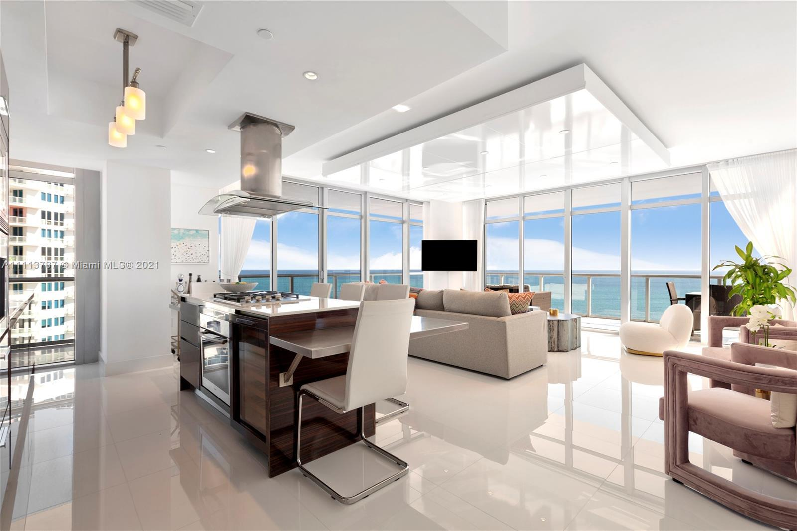 Newly renovated rarely available high floor direct ocean unit at The Caribbean. Floor to ceiling gla