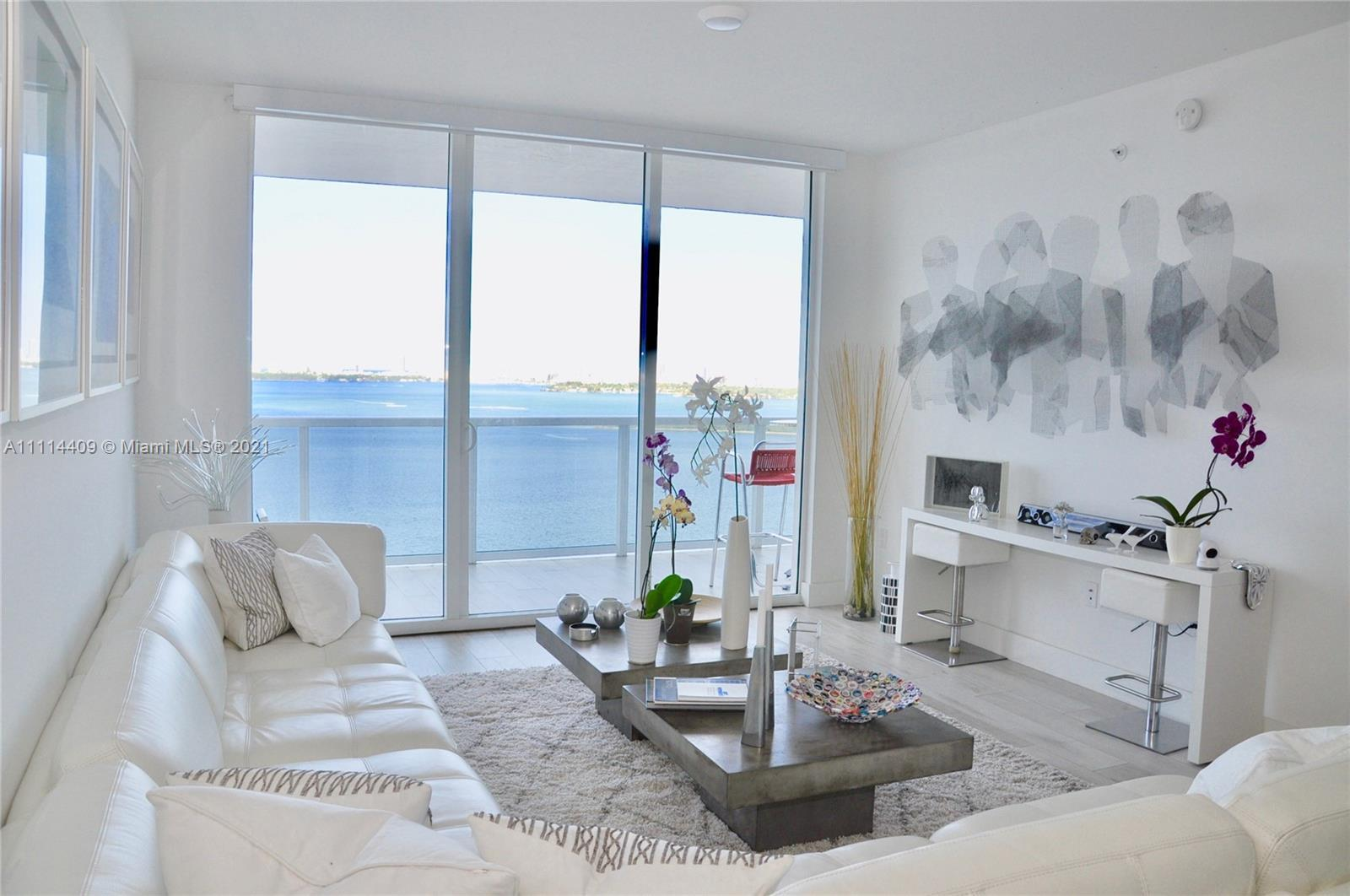 Espectacular Bay views from this professional furnished 3 bedroom/3 bathroom condo in Miami East Edg