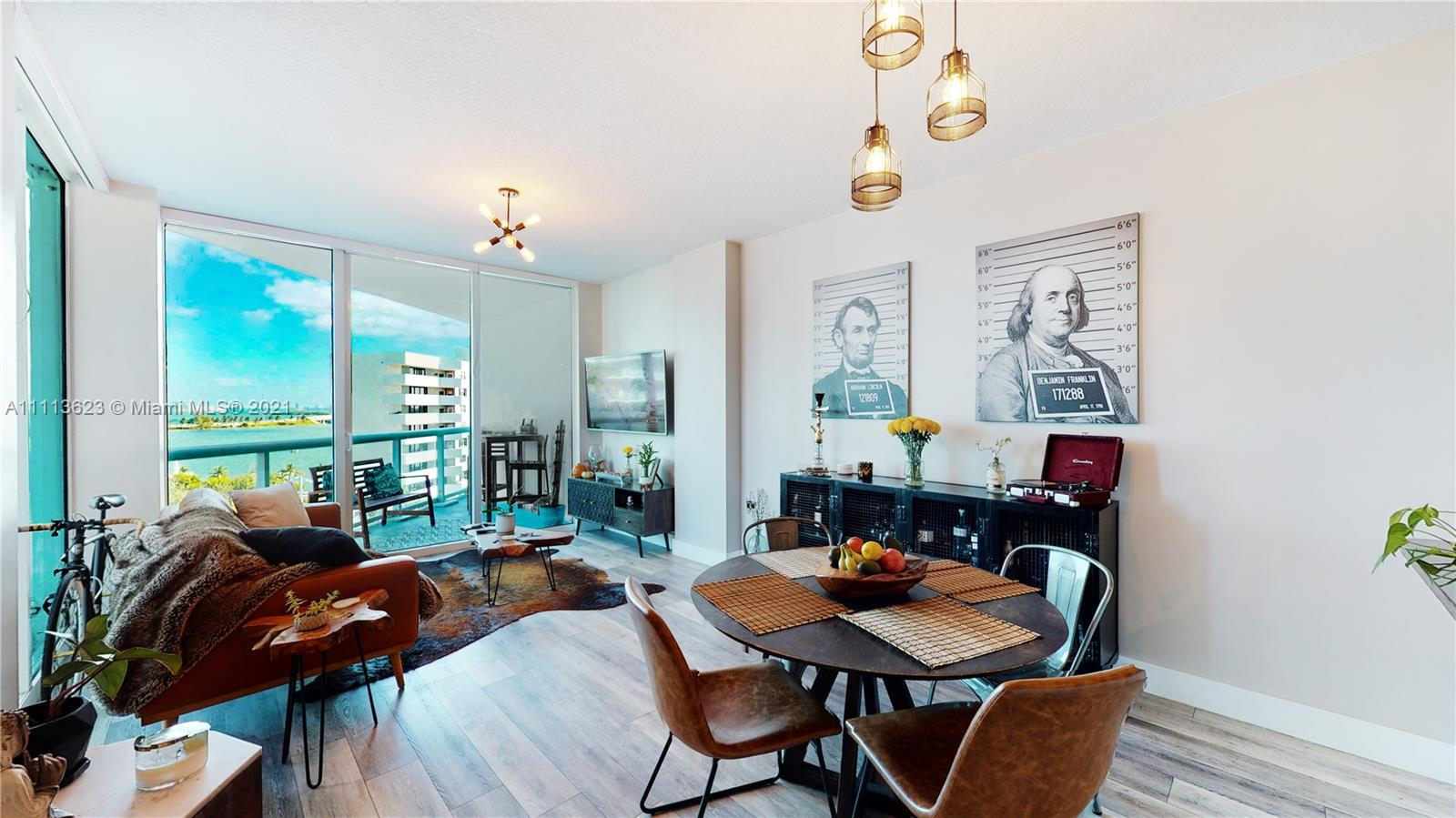Modern boutique style condo completely redone with beautiful water views  in Miami's Edgewater East.