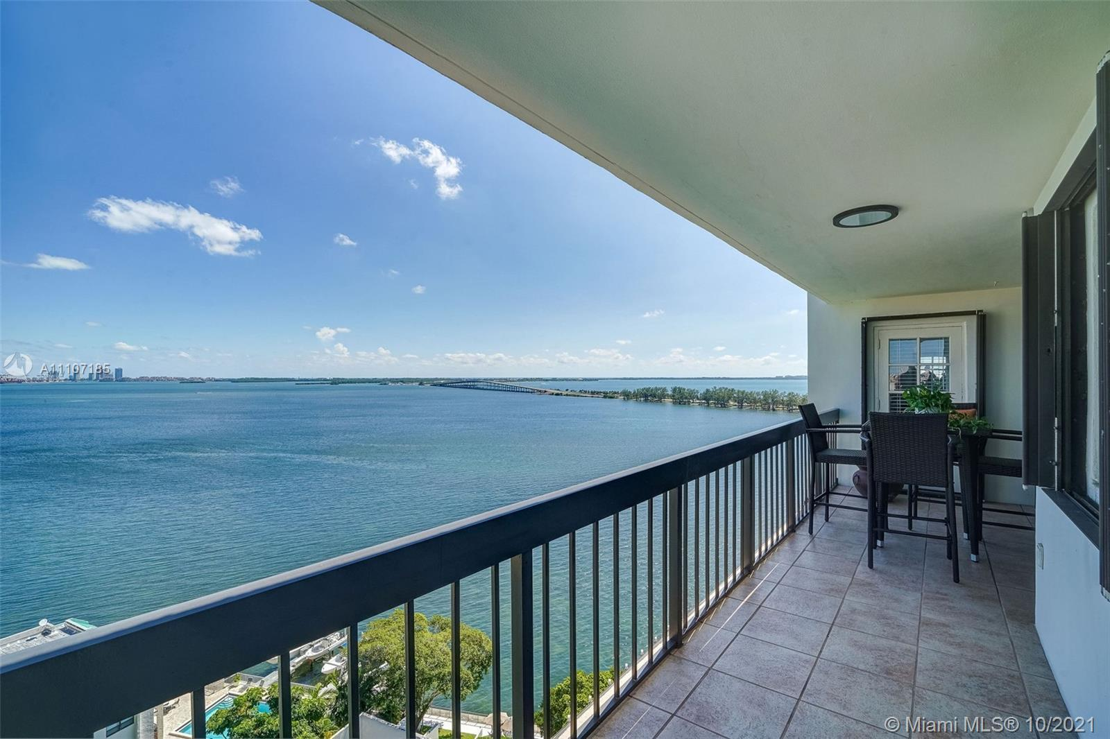 Spectacular water views from this large 2 bedroom condo in Brickell Bay Club. This split floor plan