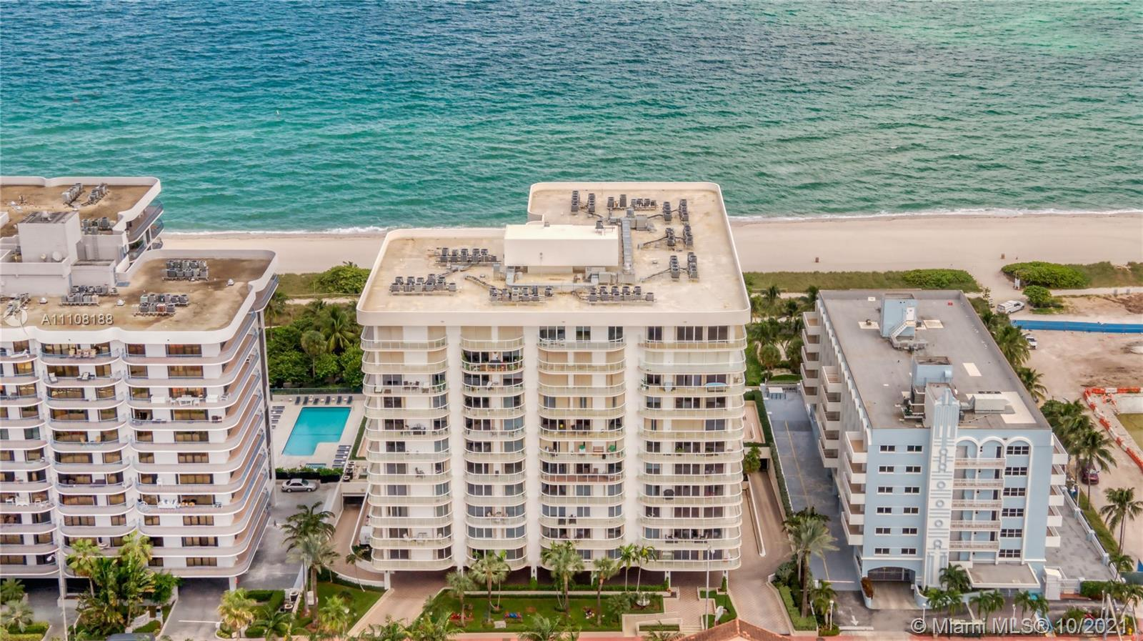 Luxury, beach front condominium in the heart of sought after Surfside. Spacious unit with marble flo