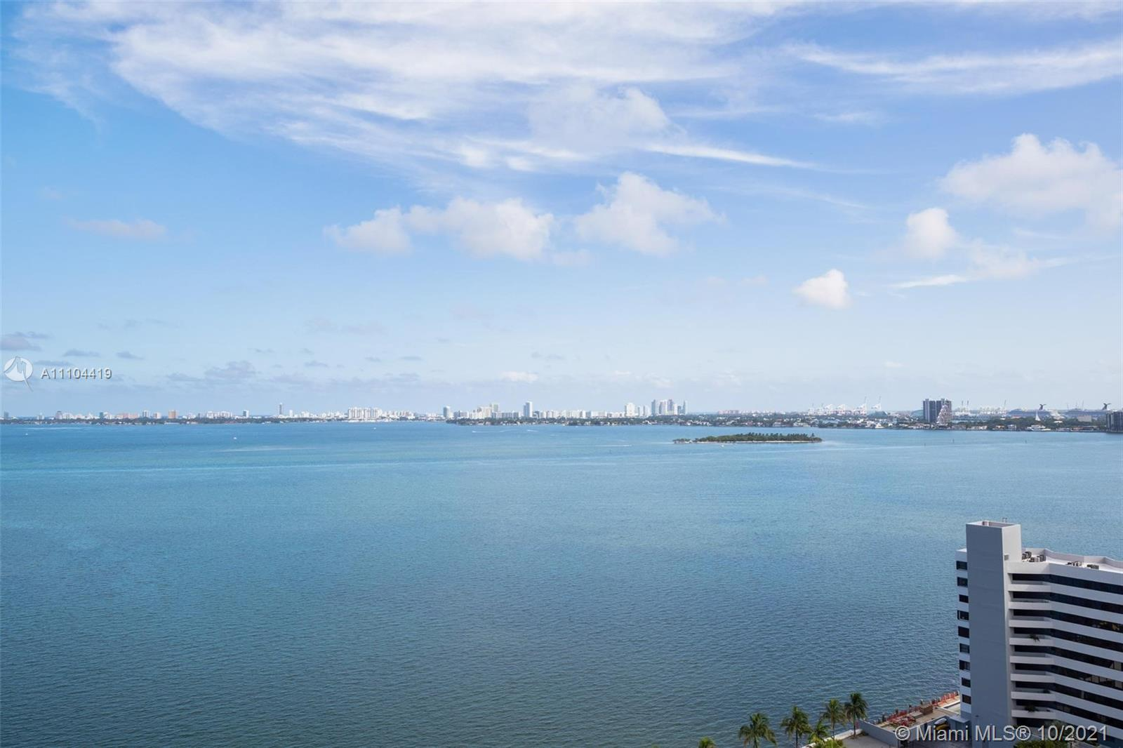 Breathtaking Bay and City Views from the 18th floor of this 2 bed /2 bath plus DEN. Private entry el