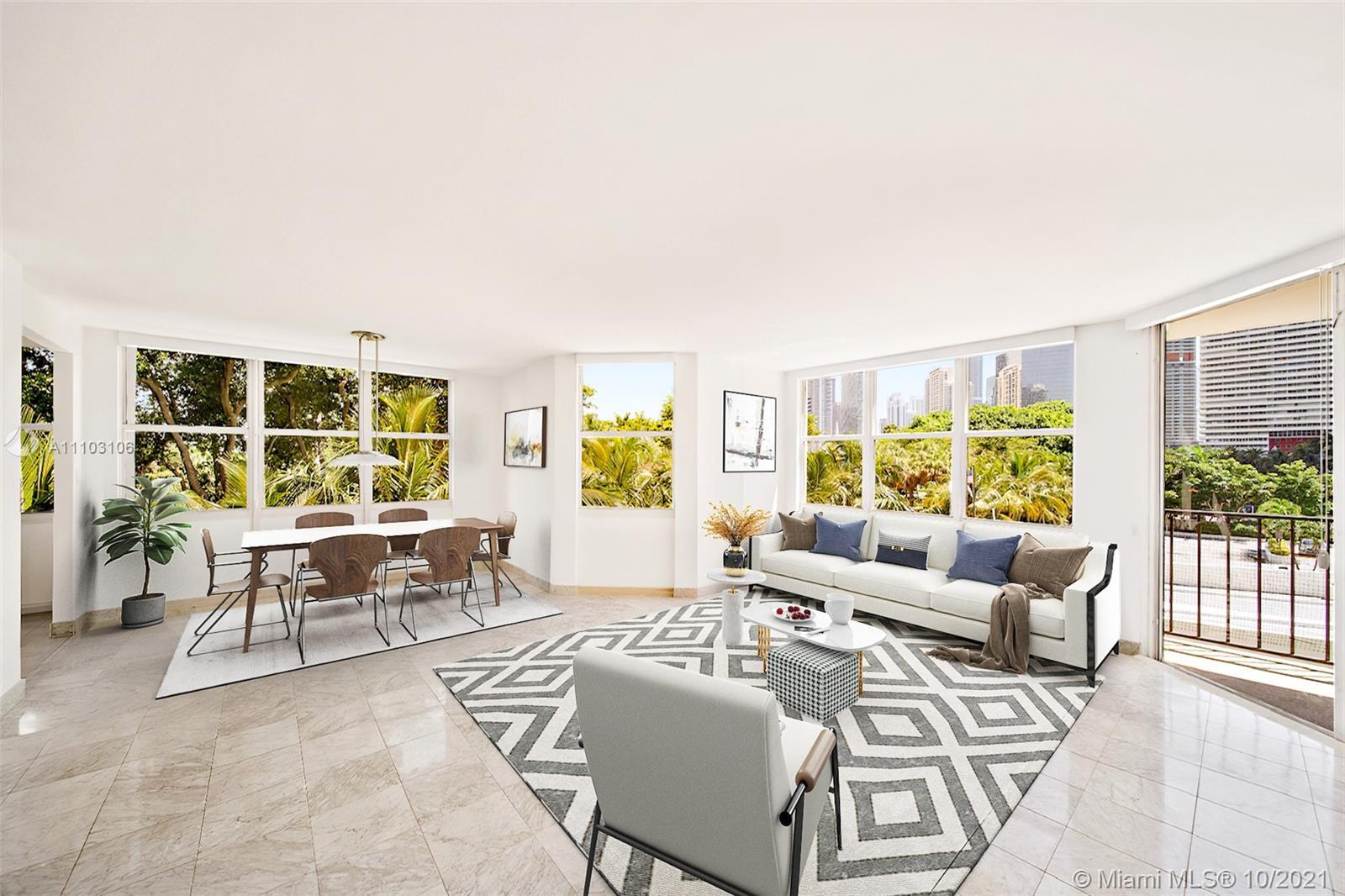 Spacious 2,133 SqFt 3 BEDS & 2.5 BATHS corner unit in full service, all amenities complex. This unit