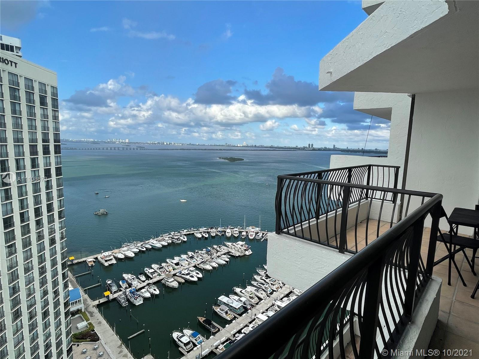 Spectacular bay views of Biscayne Bay. Spacious apartment. Building offers gym, restaurant, marina,