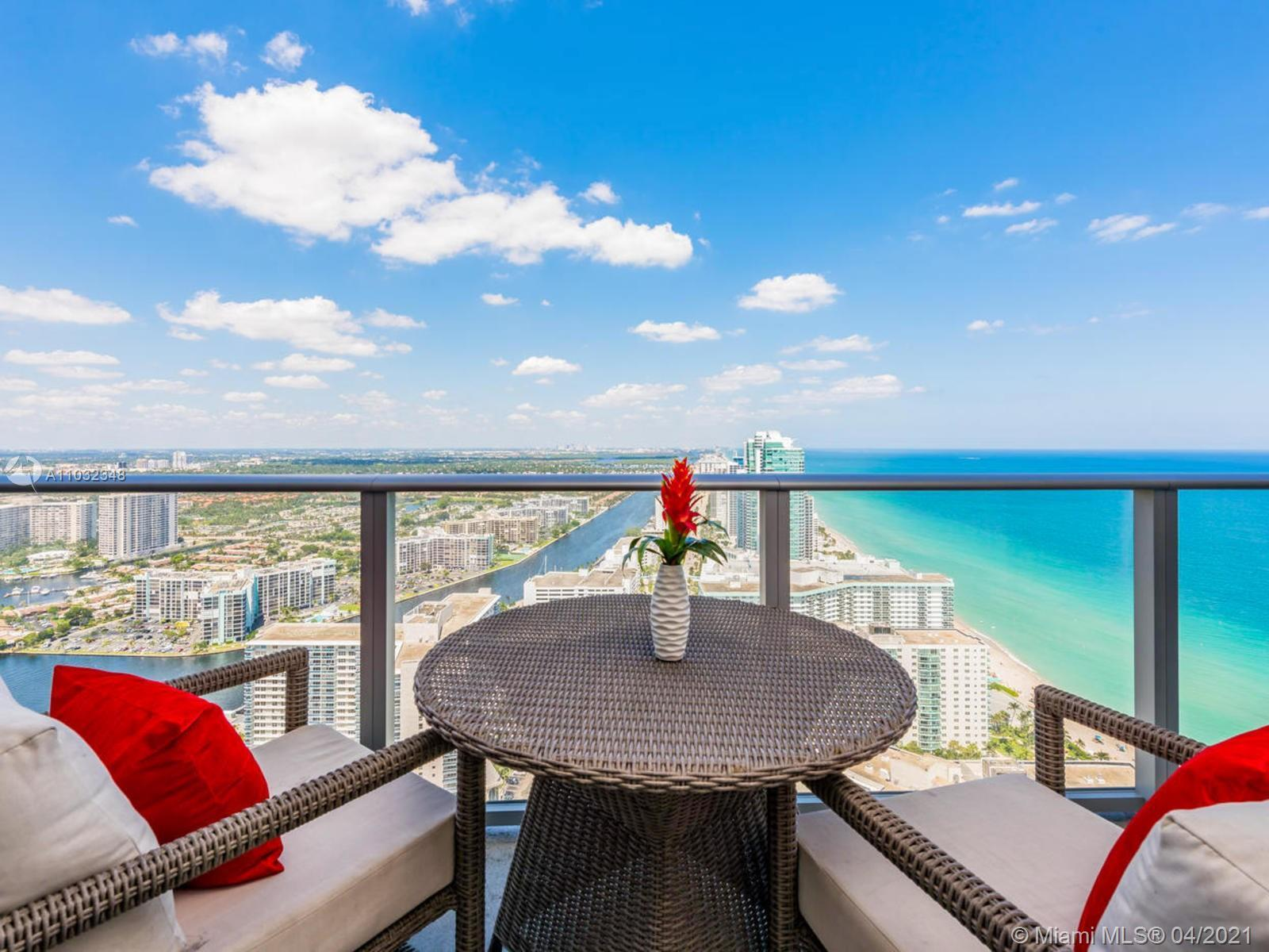 Bright and spacious residence overlooking ocean and city in the most popular Hallandale Beach area.