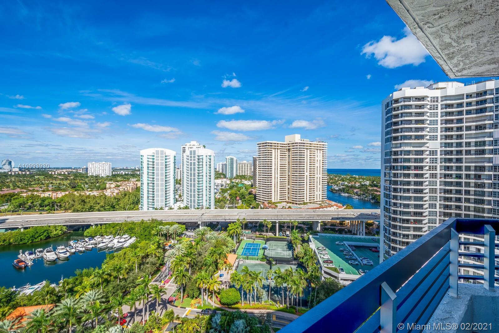 Amazing views from this 22nd floor unit at Mystic Point! Rap around balcony overlooking the city of