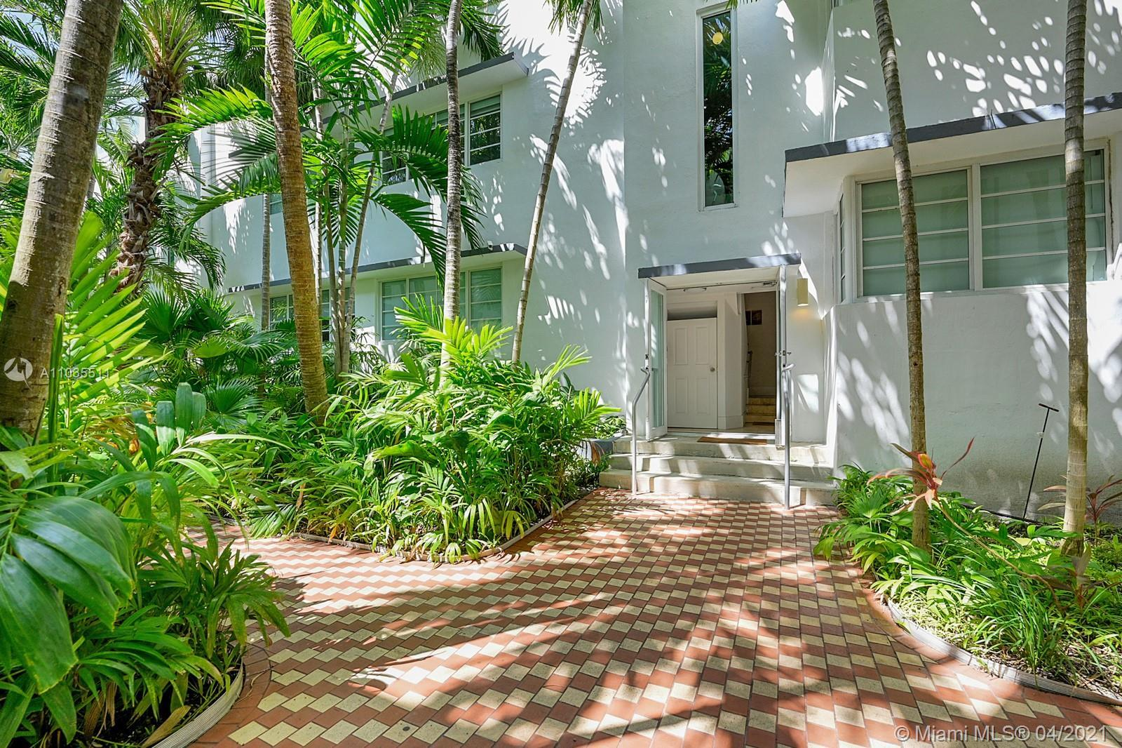 Great opportunity to invest in Miami Beach. Located on a quiet street with lush tropical trees it is