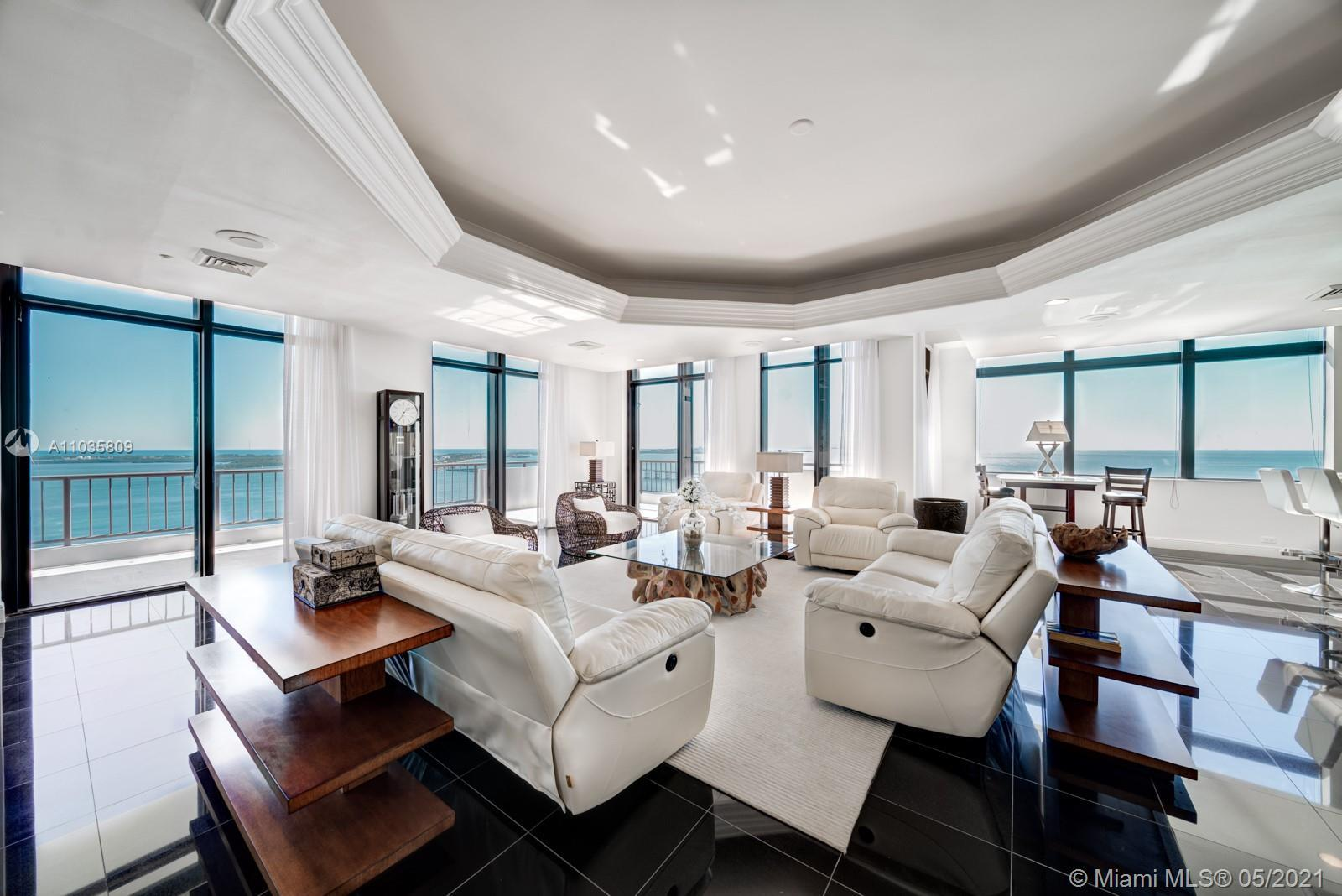 EXTRAORDINARY 7280 sf apartment facing Brickell Ave and Biscayne Bay. This 6 Bedroom & 6.5 Baths wit