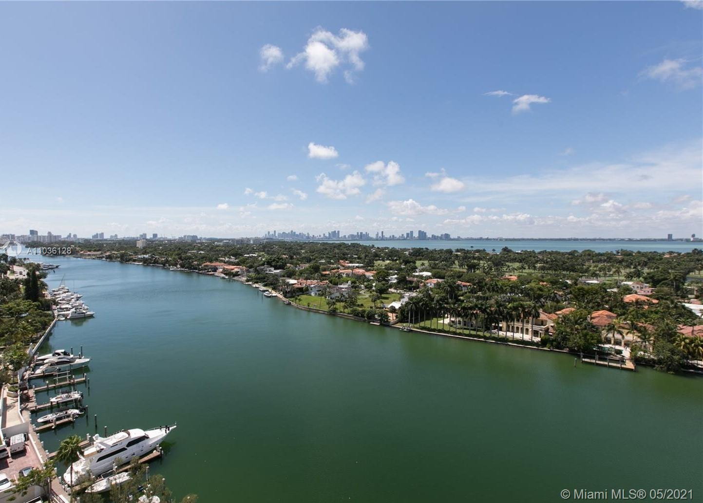 Unobstructed direct water views of the Intracoastal, La Gorce Golf Course, and Downtown Miami.  2 b