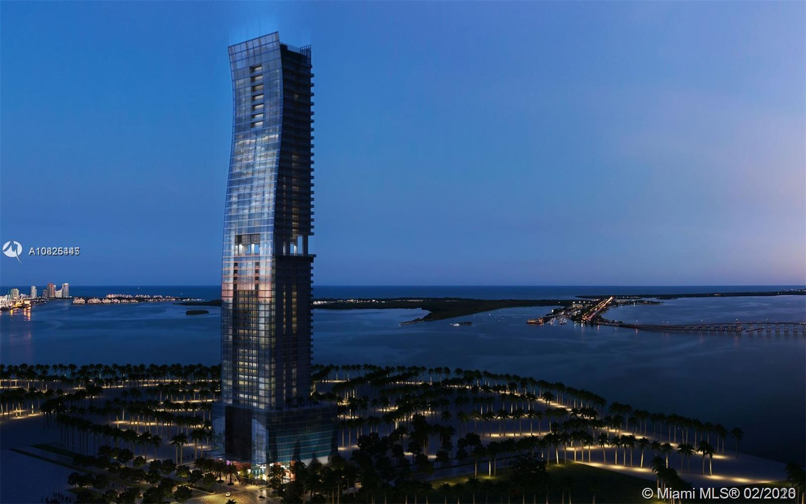 Corner 1 Bedroom and 1.5 Bathroom unit at highly acclaimed ECHO Brickell Condo by Carlos Ott, with b