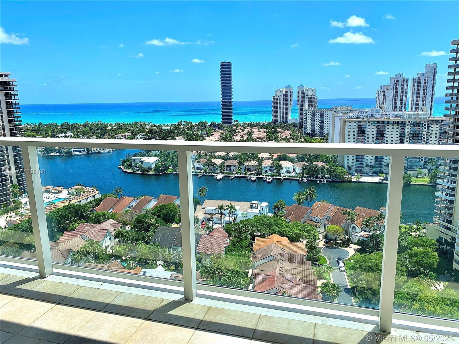Outstanding panoramic ocean and city views from this corner unit in Marina Tower. Wow unit features