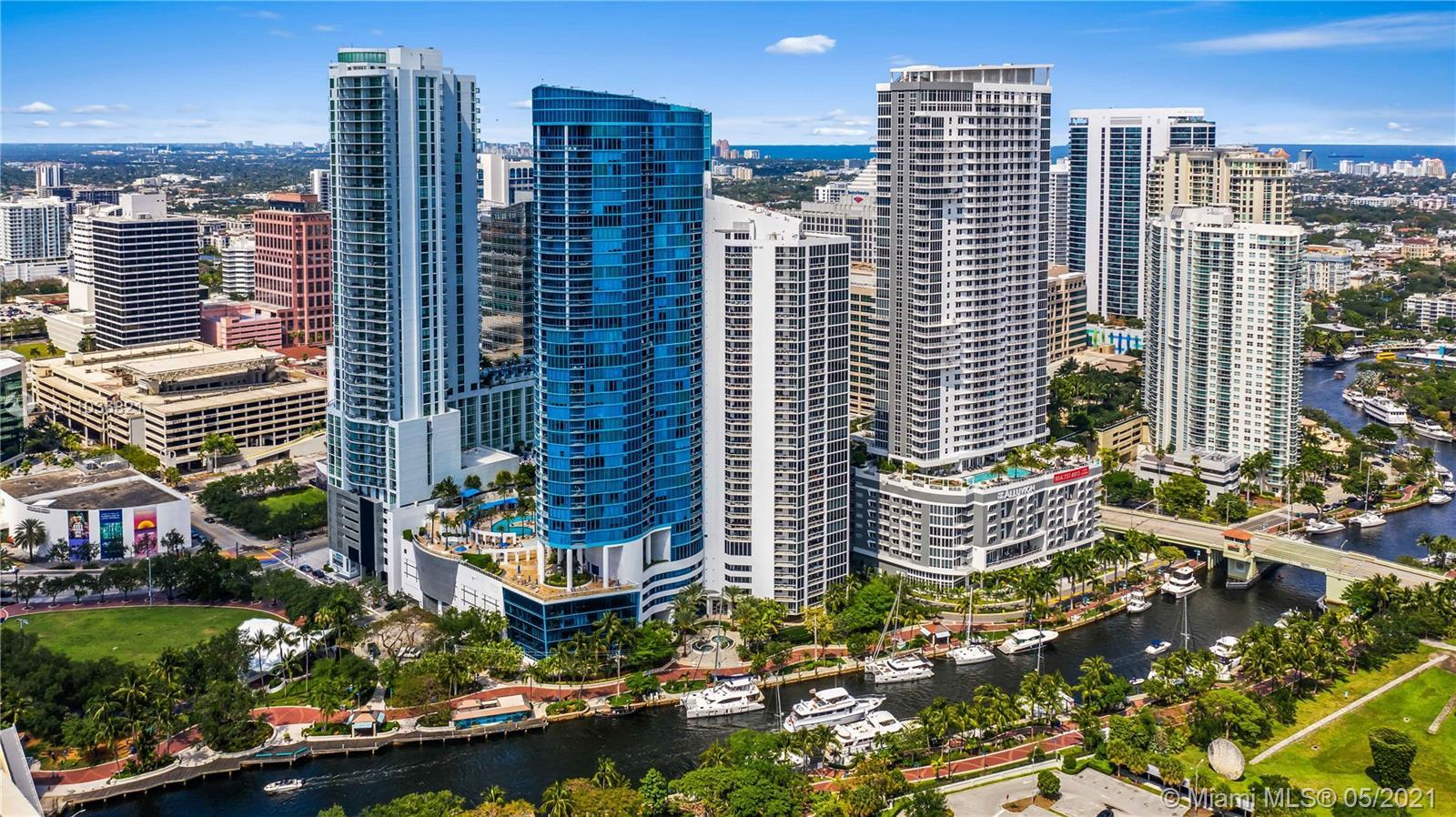 Rare opportunity to own a sub-penthouse at the iconic Las Olas River House. Step into your private f