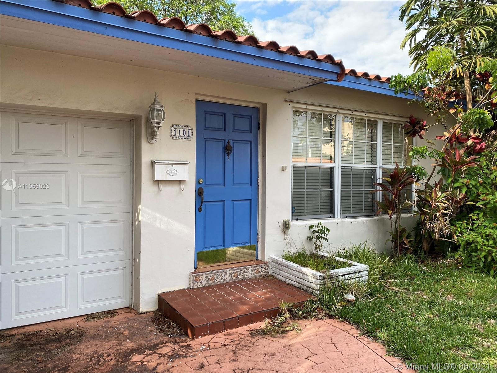Lovely home located in Hallandale Beach needs some TLC. Main home is 2 bed & 2 bath, laundry room, a