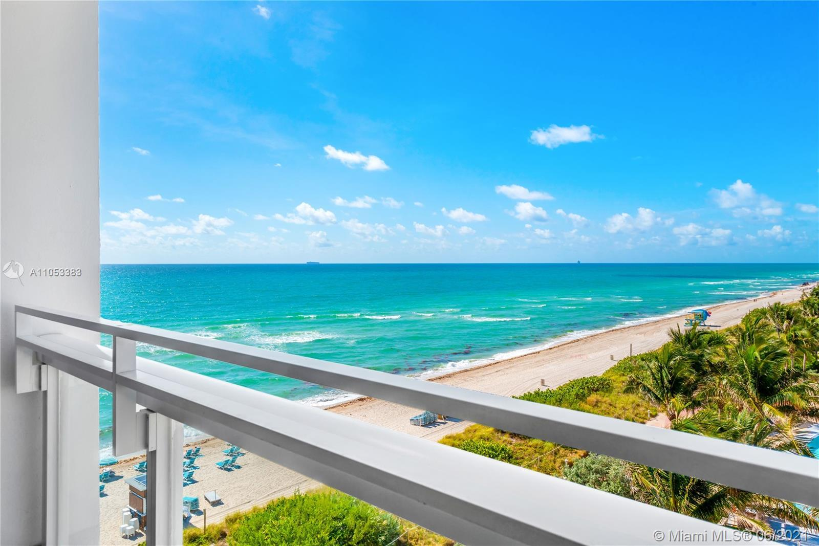 Resort-living 1 bed condo in the famed, beachfront Carillon Miami Wellness Resort with balcony to en