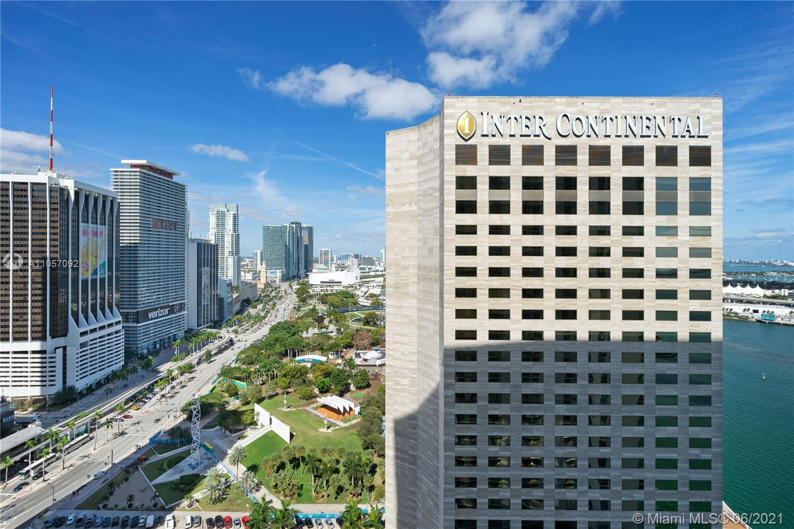 Dazzling views of city and Bay from this 2 bedroom 2 bath corner unit in the East Tower of One Miami