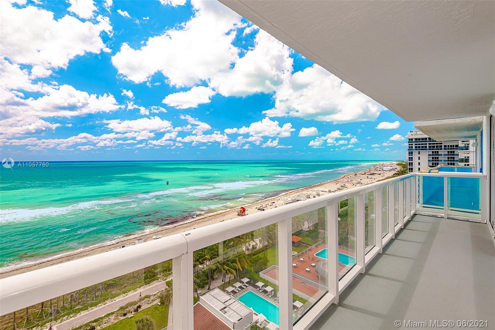 OCEANFRONT Miami Beach living.  Direct ocean views from every room with 2 oversized balconies and al