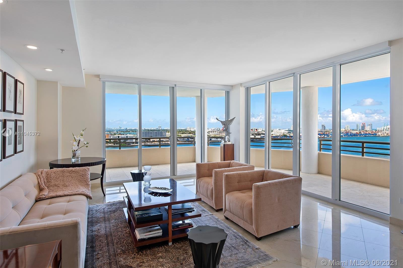 Incredible panoramic direct bay and city views from this spacious 3 bedroom, 2.5 bathroom home in th