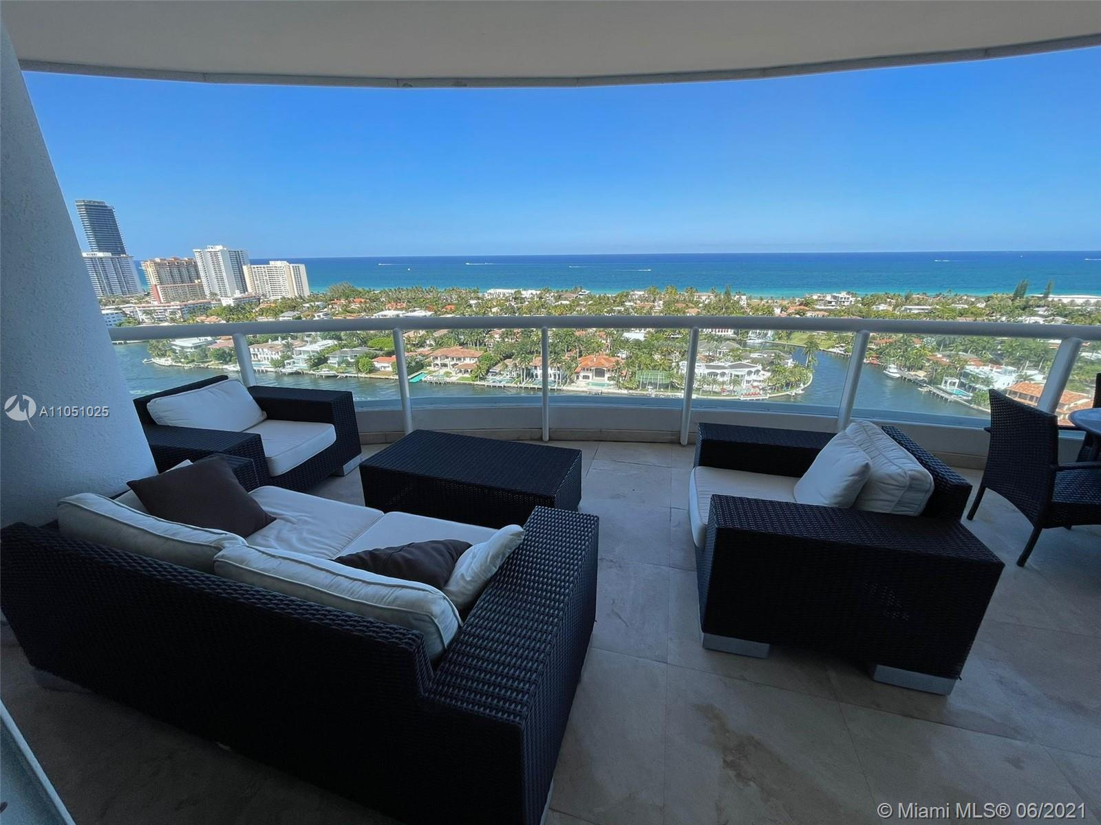 Breathtaking panoramic views of direct ocean, intracoastal and skyline from this completely remodele