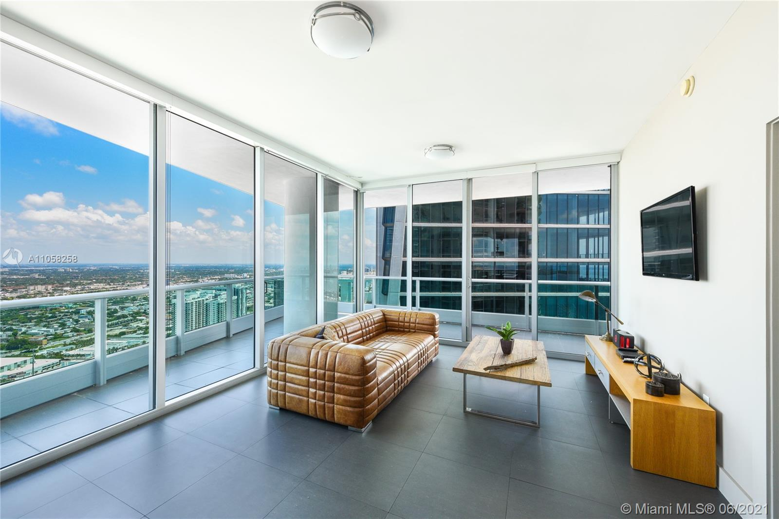Stunning 180 degree views of Biscayne Bay, Ocean & Miami Skyline. Large 2 terraces overlooking sunse